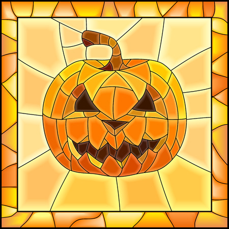 Square illustration of Halloween pumpkins as stained glass window with frame (orange tone).