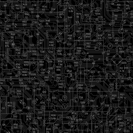 Vector black seamless background of electrical circuit of radio device (resistance, transistor, diode, capacitor, inductor).