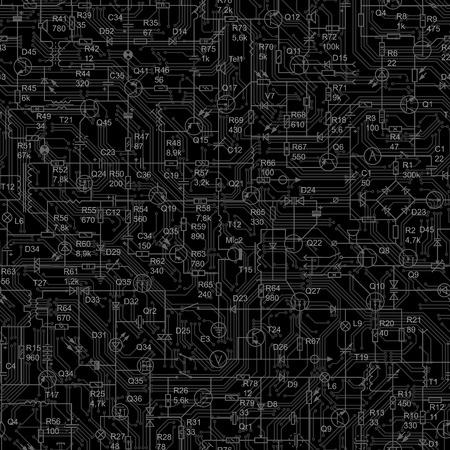 transistor: Vector negro de fondo sin fisuras del circuito el�ctrico del dispositivo de radio (resistencia, transistores, diodos, condensadores, inductor). Vectores