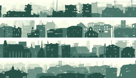 downtown: Set cartoon horizontal banner of big city with roofs and windows of buildings in downtown. Illustration