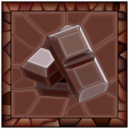 Mosaic brown illustration of chocolate bars stained glass window with frame.