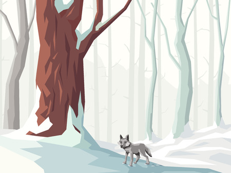 Abstract vector horizontal illustration of snowy forest with trees and wolf. Illustration