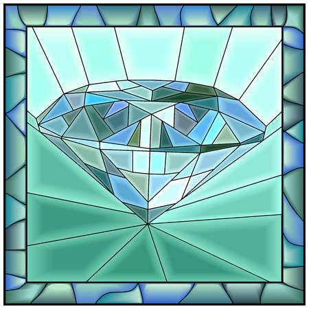 glass reflection: Mosaic green illustration of diamond stained glass window with frame.
