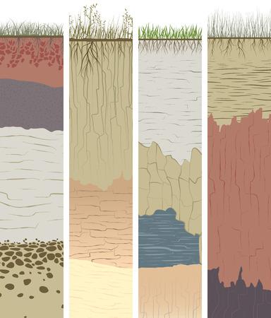 terreno: Impostare banner verticale con taglio del suolo (profilo) con un erba, radici, strati di terra, argilla e pietre (illustrazione).