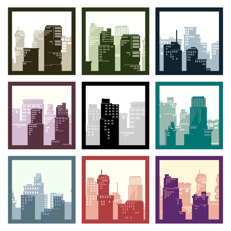 square abstract: Set of square abstract icons of city high-rise buildings in frame.