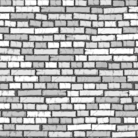Seamless background of cartoon white old ( with crack) brick wall.
