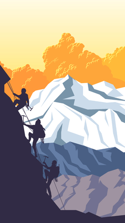 alpinism: Vertical cartoon illustration of mountains with alpinists (climbers) with ice ax. Illustration