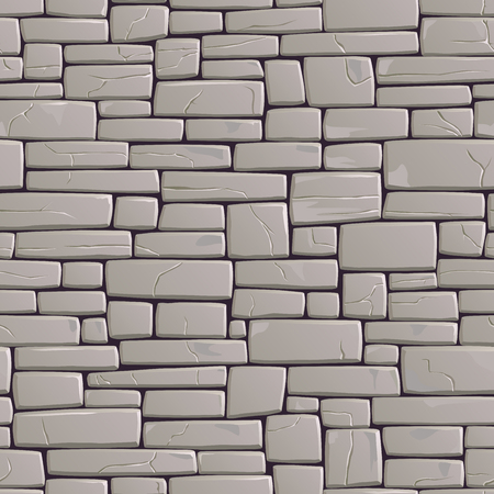 sized: Seamless background of rectangular stones wall building with different sized cracked bricks (in grey tone).