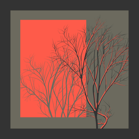 simple frame: Square abstract illustration tree branch in red light with shadow. Illustration
