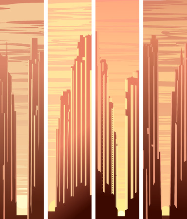 glare: Set of vertical abstract big city and skyscrapers with glare from sun.