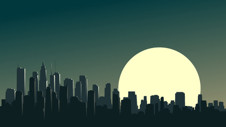 glare: horizontal illustration of abstract big city and skyscrapers with glare from moon. Illustration