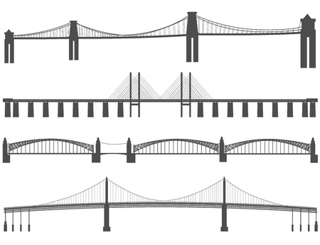 Set of horizontal silhouettes of various types of bridges.