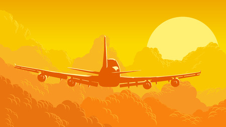 airport cartoon: Vector horizontal orange illustration of sky and clouds with aircraft at sunset.