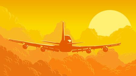 avion caricatura: Vector ilustraci�n de naranja horizontal del cielo y las nubes con aviones en la puesta del sol.