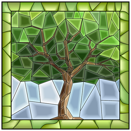 glass windows: Vector green illustration of tree stained glass window with frame.