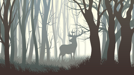 Vector horizontal illustration of dark forest with wild elk in forest.