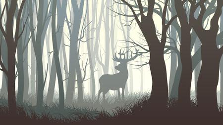 Vector illustration horizontale sombre forêt avec des wapitis sauvages dans la forêt.