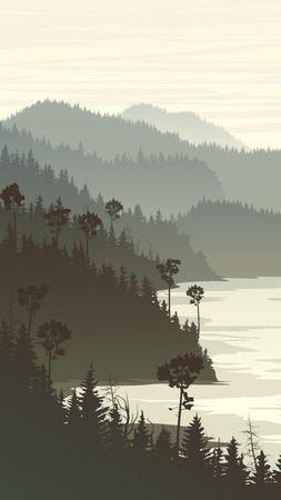 rocky: Vertical illustration of morning misty coniferous forest hills on rocky seashore. Illustration