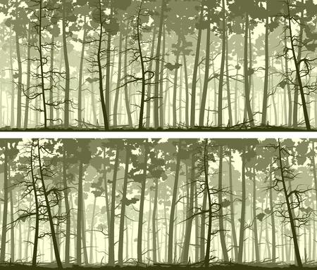 Conjunto de resumen de los bosques horizontal banderas anchas con los troncos de los árboles de pino. Ilustración de vector