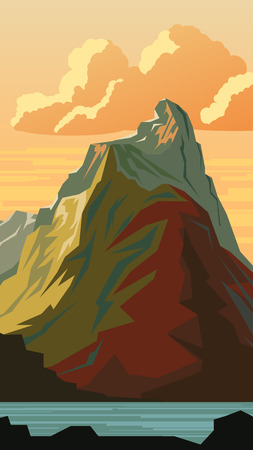 crag: Vector vertical cartoon illustration of mountain peak in simple angular style. Illustration