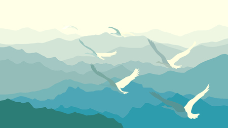 panoramic nature: Horizontal illustration morning misty mountains with flock of swans. Illustration