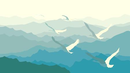 misty: Horizontal illustration morning misty mountains with flock of swans. Illustration