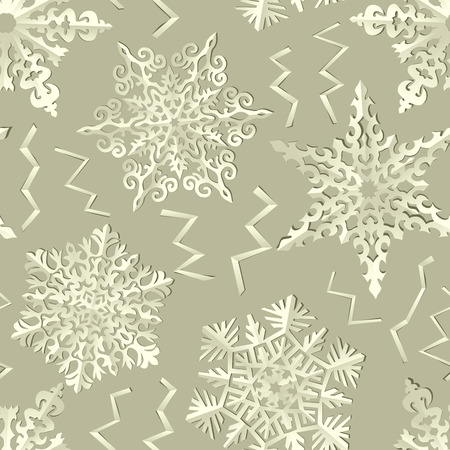 handmade paper: Seamless wallpaper of handmade paper snowflakes with shadows. Illustration