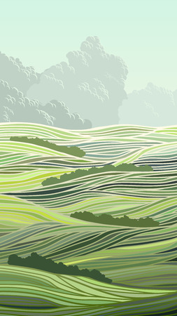 vast: Vertical abstract illustration meadow field of green grass and sky with clouds.