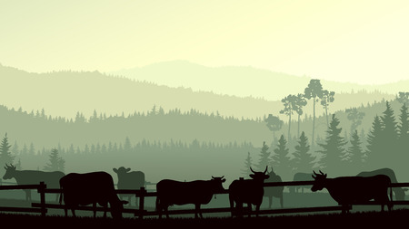 Horizontal vector illustration of wooded hills and grazing cows in fence.