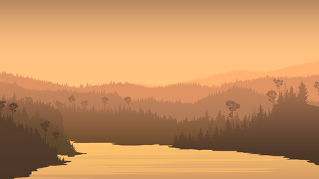 beach panorama: Horizontal illustration of river between misty coniferous forest hills.
