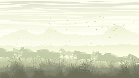 dobbin: Horizontal illustration of meadow field with mountains and prancing through grass herd of horses.