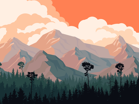 bosk: Horizontal illustration coniferous forest with mountains and cloudy sky.