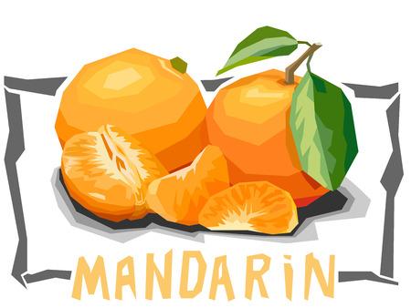 mandarins: simple illustration of tangerines with slices in angular cartoon style. Illustration