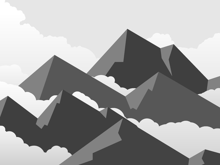 simple sky: Horizontal illustration of simple cartoon mountains with cloudy sky.