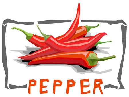 Vector simple illustration of hot peppers in angular cartoon style. Illustration