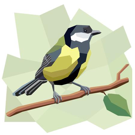 Vector simple illustration of great tit bird on tree branch in angular cartoon style.