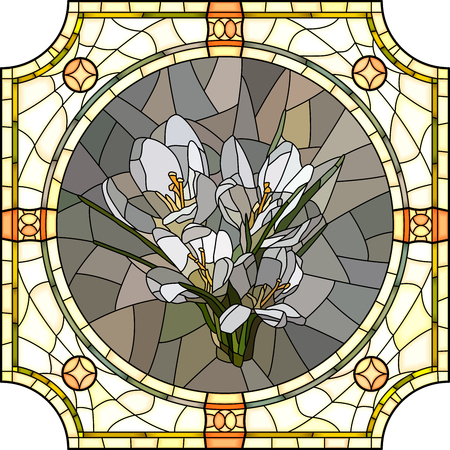 florescence: mosaic of brightly crocus in round stained-glass window frame. Illustration