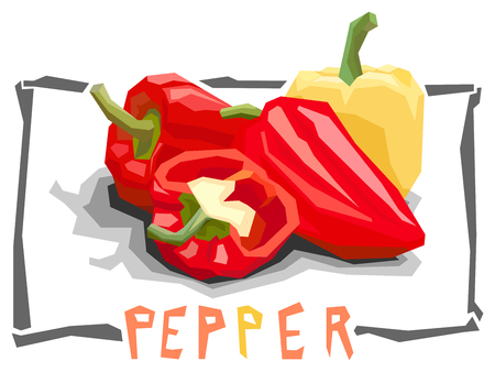 Vector simple illustration of bell peppers in angular cartoon style. Illustration