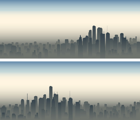 roof construction: Set of horizontal wide banners of big city with skyscrapers in haze.