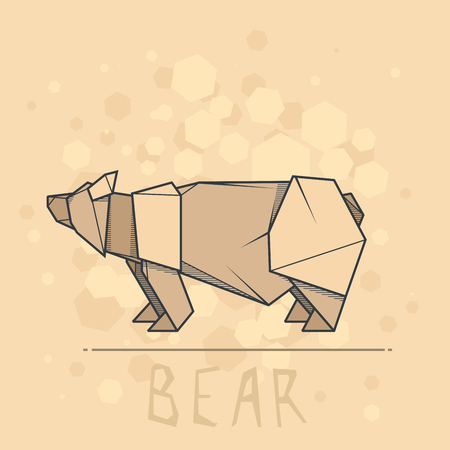 statuette: Vector simple illustration paper origami of brown bear.