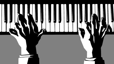 concerto: Simple vector black and white illustration of hands pianist playing the piano.