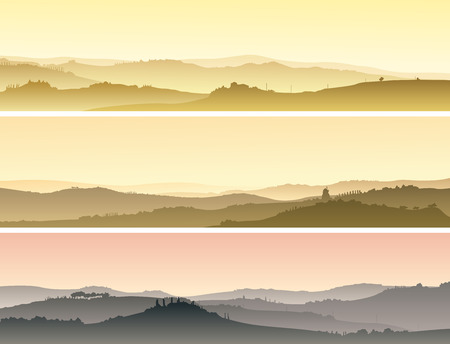 mead: Set of horizontal banners of pastoral landscape of valley with manors at sunset.