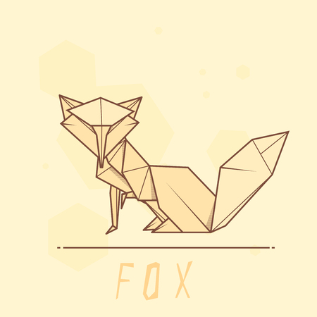 statuette: Vector simple illustration paper origami of fox.