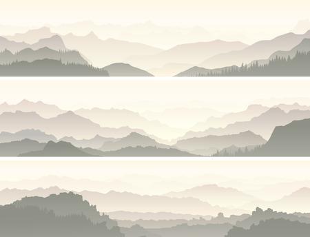 coniferous forest: Fije las banderas horizontales del vector de la sierra con colinas del bosque de coníferas.