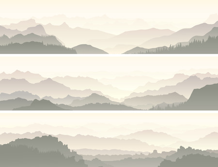 coniferous: Set vector horizontal banners of mountain range with coniferous forest hills. Illustration
