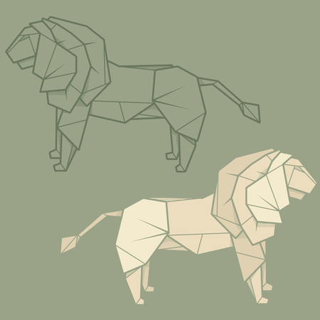 statuette: Set vector simple illustration paper origami and contour drawing of lion.