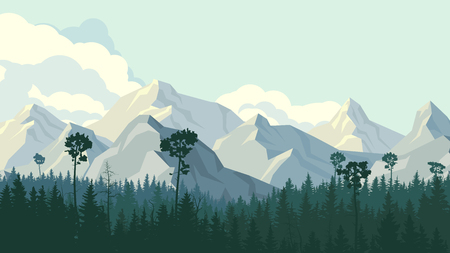 bosk: Horizontal illustration coniferous forest with rocky mountains and cloudy sky. Illustration