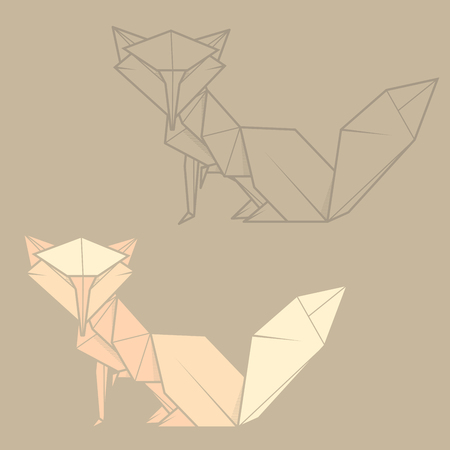 statuette: Set vector simple illustration paper origami and contour drawing of fox. Illustration