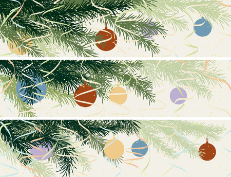 Set vector horizontal banner of spruce branch with Christmas decorations in pastel tone.