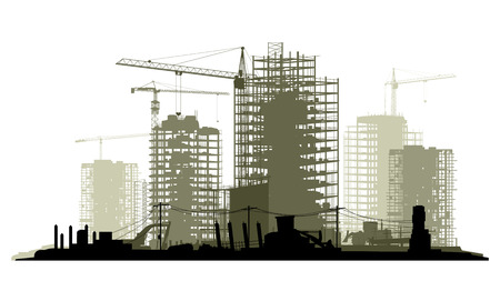 earthmover: Line of silhouettes illustration of construction site with cranes and skyscraper with tractors, bulldozers, excavators and grader in green tone.